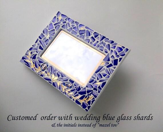 Jewish Wedding Gift: Picture Frame- Jewish Wedding Glass Shards, Jewish Wedding