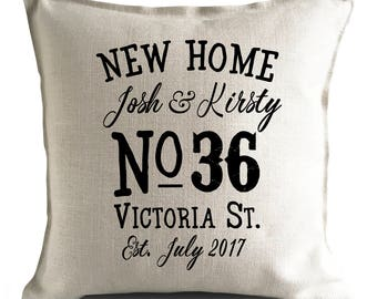 Personalised New Home Moving House Cushion Cover, Pillow Cover, House Warming gift, Vintage Style Gift, Home Decor, house number cushion