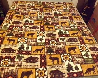 Fleece Blanket, Twin, Cabin Life