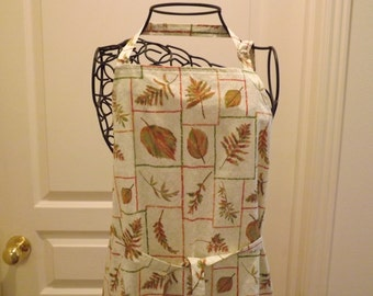 Adult Apron,  Watercolor Ferns