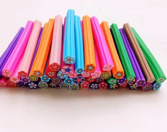 50pcs Fimo Nail Stickers Fimo Canes flower 3D Nail Art Decoration Polymer Clay Fimo Rods Nail DIY Design decoden scrapbooking