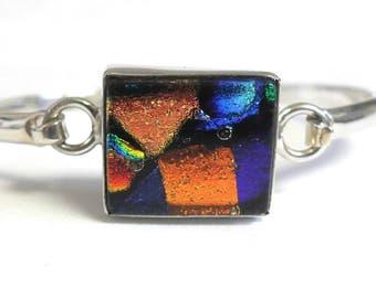 Vintage Sterling Silver Foil Art Glass Opening Bangle Bracelet