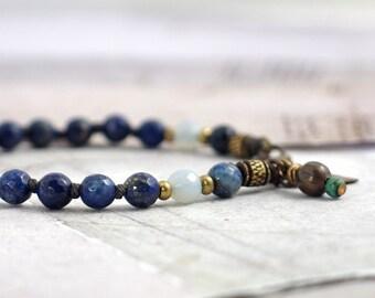Lapis Lazuli bracelet Indigo bracelet Lapis jewelry Blue bracelet with knots Royal blue jewelry Blue bridesmaid gift Ooak jewelry for women