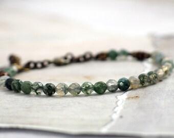 Moss opal bracelet Dainty gemstone bracelet Green stone jewelry Dark green bracelet for women Sparkly bracelet with clasp Minimalist jewelry