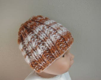 Chunky knit hat gold brown kids hat size 1 - 1.5 yrs warm comfortable cognac winter hat multicolor thick and thin yarn baby child accessory