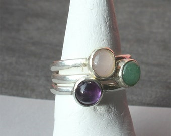 Silver rings  - Handmade Stacking Sterling Silver Gemstone Rings - Made to Order - All sizes - Amethyst - Aventurine - Pink Quartz