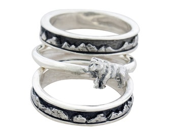 Stackable Mountain Bands, Stackable Rings, Mountain Rings, Thin Mountain Bands, Animal Bands, Animal Jewelry, Animal Rings, Mountain Bands