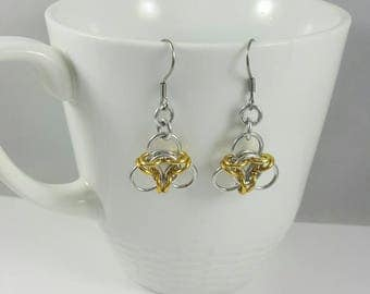 Silver and Gold Aura Chainmaille Earrings