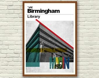Modernist Print - Birmingham Library, Modernist Architecture Print, John Madin, Brutalist Architecture, Wall Art Print, Modernist Wall Art,