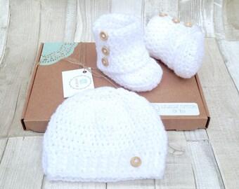 Unisex booties crocheted shoes unisex gift baby booties box set hat and shoes set crochet booties girl boy infant  uk newborn 0-3 3-6