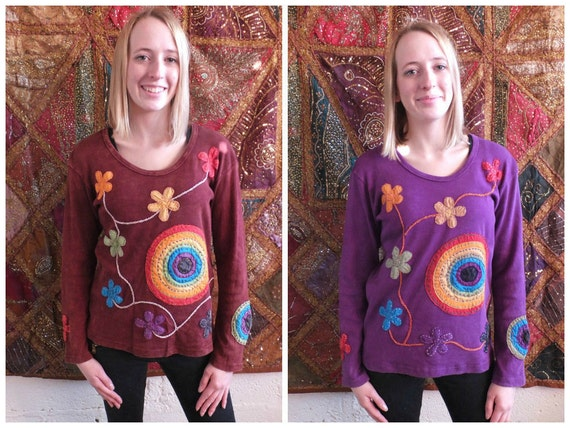 Ladies Flower Embroidery Stonewash Long Sleeve Top, Colourful Hippie Boho, 8 10 12 14