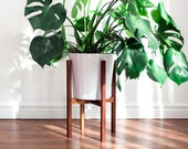 Mid Century Modern Plant Stand, Hand Made in Canada, Walnut Wood, Retro Home Decor