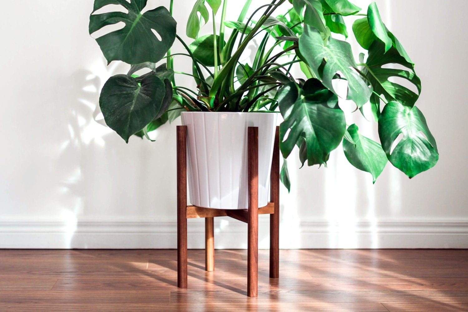 mid century modern plant stand hand made in by hookandstemco. Black Bedroom Furniture Sets. Home Design Ideas