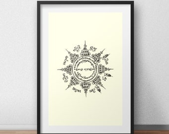 Yantra Screen Print Art Thai Kmer Sacred Tattoo Screenprint Poster  Screen Print Poster
