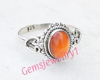 Carnelian ring 925 sterling silver Carnelian  ring, Statement Ring, Carnelian  Stone Ring Size 5 6 7 8 9 1010 -0115100225