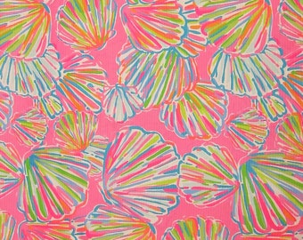 "1 Yard 36"" x 55"" New Lilly Pulitzer Jacquard Cotton Fabric "" Pink Shellabrate """