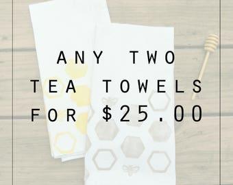 TWO Tea Towels, Flour Sack Towel, Handprinted, Housewarming Gift, Hostess Gift, Kitchen Decor, Kitchen Towel, Cotton Towel