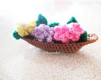 Mini boat flower basket crochet : crochet,flowers, handmade, craft, crochet flower, mini flowers, handmade Thailand, Thailand craft, dolls