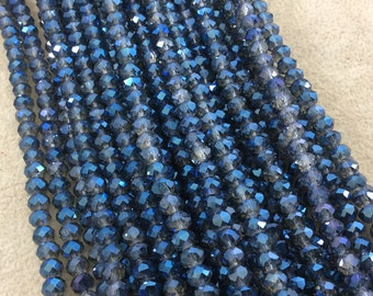 """4mm x 6mm Iridescent AB Finish Faceted Trans. Dark Denim Blue Chinese Crystal Rondelle Beads - 17"""" Strand (Approx. 94 Beads) - (CC46-89)"""