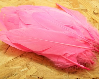 Set of 10 natural pink, tinted goose feathers, 15-20 cm