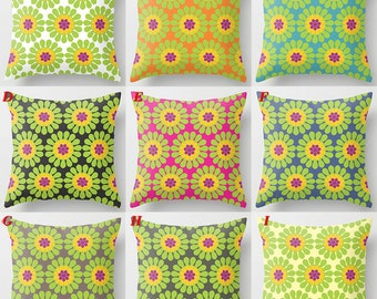 Colorful flower pillow, green yellow purple decorative throw pillows