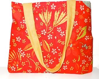 tote bag, red and floral print tote, market bag, book bag