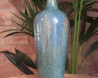 Vintage Hand Formed Painted Glass Bottle   Blue/Copper/Gold