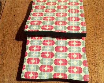 Recycled Handmade Ceramic Tile Coasters Set of Two Pink/Turquoise Geometric Design
