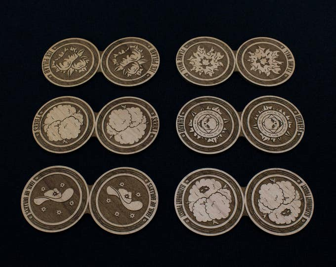 Malifaux - Solid Wood 50mm X 2 Wall Tokens