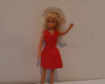 Vintage Blonde Malibu Skipper Doll 1069 Wearing Red Sensation Dress and Hat Mattel 1967
