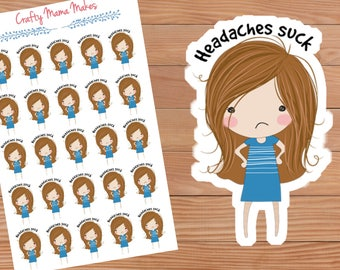 Headache planner stickers - Cute Girl - Sticker - Happy Planner - Erin Condren - Planner