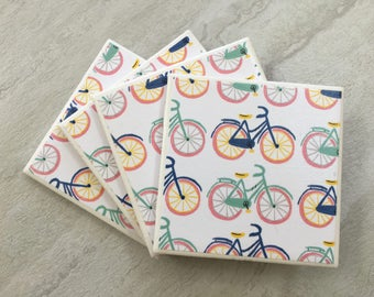 Bicycle Coasters, Retro Coasters, Bicycle Decor, Bicycle Gift, Bicycles, Tile Coasters, Housewarming Gift, Ceramic Coasters, Coaster Set