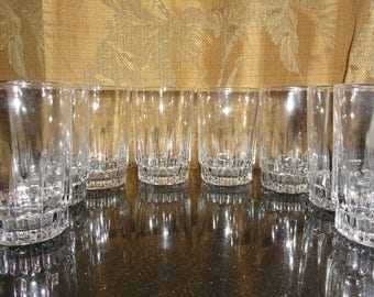 Vintage Set of 8 D'Arques DURAND LANCER Heavy Clear Glass Vertical Indented Lines Arcoroc France Juice Glasses Tumblers