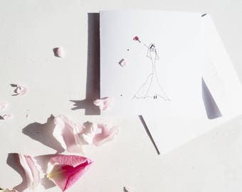Handmade Illustrated Bridal shower card | bride wedding card | personalised bridal shower | happy girl card | Bride Wedding gift