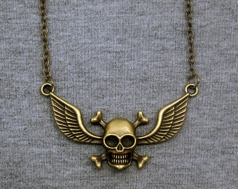 Skull Necklace -Pirate Pendant Necklace -Skull with Wings Necklace
