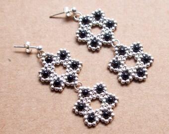 Onyx Hibiscus Earrings - 925 sterling silver beads & black onyx gemstones