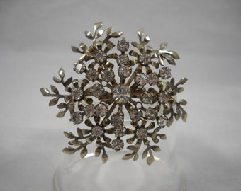 Vintage Rhinestone Brooch 1940s Large Round Floral/Foliage Motif Collectible Jewelry/Vintage Jewelry/Rhinestone Jewelry/1940s Jewelry/Pins
