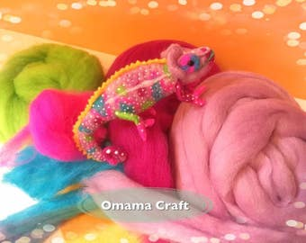 Needle Felt Animal Sculpture - Chameleon