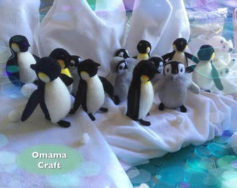 Needle Felt Animal Sculpture - Penguin