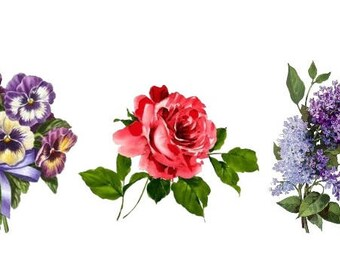 Temporary Tattoo - Set of 3 Vintage Floral - Pick your pattern/ Rose / Lilac / Pansy