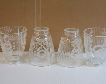 "Vintage Glass Shades - 4"" Cut Engraved Floral Replacement Lamp Light Shade 2 1/8"" Fitter Set of Four"