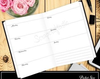 Horizontal Week On Two Pages Pocket Size Traveler's Notebook Printable Planner Inserts Undated
