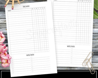 Daily Habit/Task Tracker Planner Printable Insert Refill Half Page (A5)  Size - Filofax, Kikki K, ColorCrush