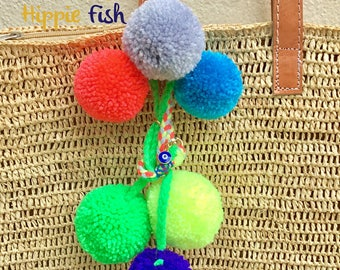 PomPoms, Bag decoration, pompom bag charm, coloured pompoms, beach bag, decoration, bag decor, zipper charm, bag charms, evil eye, Pom Pom
