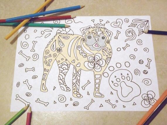 Cane carlino disegno da colorare bambini e adulti handbag dog for Cane disegno facile