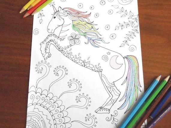 Unicorno pagina da colorare cavallo bambini adulti zen - Libero unicorno pagine da colorare ...