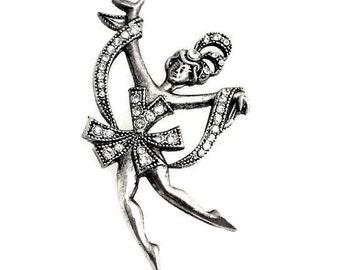 1pcs--Brooch, Vintage Ballet Dancer, Antique Silver, 45x43mm (B35-6)