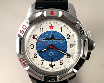 "BRAND NEW Russian Military men's watch Vostok ""Komandirskie "". This army watch comes  with brand new leather strap."