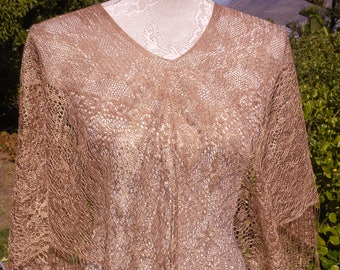 Beautiful gold fringed lace poncho, vintage, steampunk, gothic one size