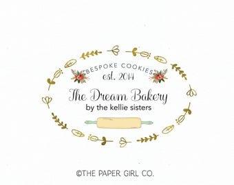 rolling pin logo bakery logo bakers logo baking logo cookie designer logo cake shop logo cupcake logo sweet shop logo premade logo design